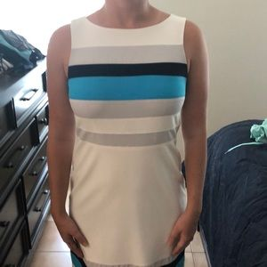 WHBM Color-block blue and white dress
